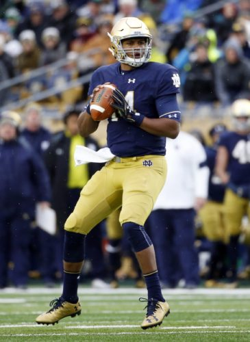 Notre Dame quarterback DeShone Kizer looks to pass against Virginia Tech during the first half of an NCAA college football game in South Bend, Ind., Saturday, Nov. 19, 2016. (AP Photo/Nam Y. Huh)
