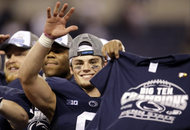 Penn State quarterback Trace McSorley waves following the Big Ten championship NCAA college football game against Wisconsin Saturday, Dec. 3, 2016, in Indianapolis. Penn State won 38-31. (AP Photo/AJ Mast)