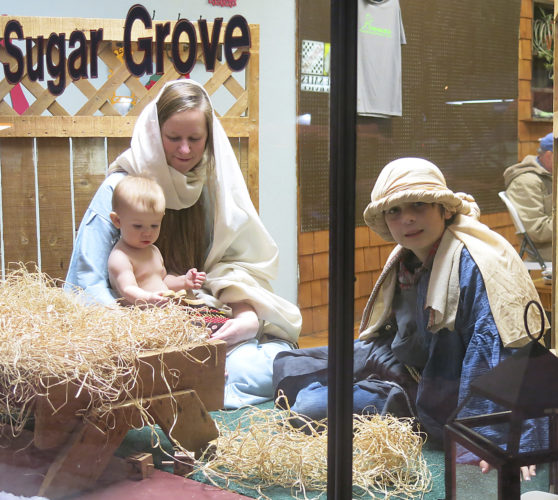 Times Observer photo by Josh Cotton A living nativity graced the window of Fralick Chiropractic as part of Christmas Walk festivities in Sugar Grove on Friday night.