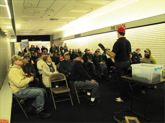 Photo submitted to Times Observer Darin Freeborough speaks to a crowd during a past Warren County Outdoor, Travel, and Gun Show. The show has been renamed in his honor, becoming the Darin Freeborough Memorial Outdoor Show.