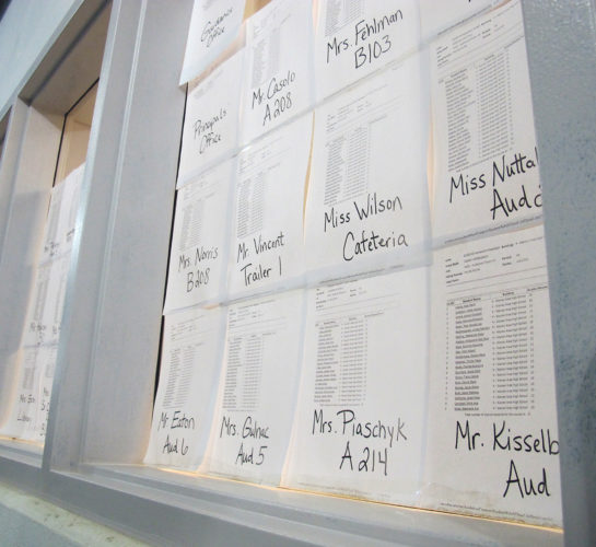 Times Observer photo by Brian Ferry Home room lists hang in the Guidance Office window of Warren Area High School. The newly renovated science wing opened Monday while the classroom wing was closed for the next phase of renovations.