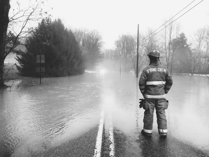 Photo submitted by Heidi Halcomb This photo was taken at the scene of the flooding on Rt. 426 in Spring Creek on Thursday, Jan. 12, where members of the Spring Creek Volunteer Fire Department were on duty.