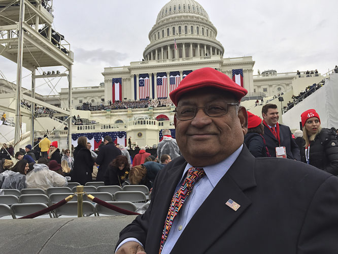 Photo provided by Ash Khare Ash Khare, RNC delegate and electoral college elector, at his seat at the Presidential Inauguration on Friday in Washington D.C.