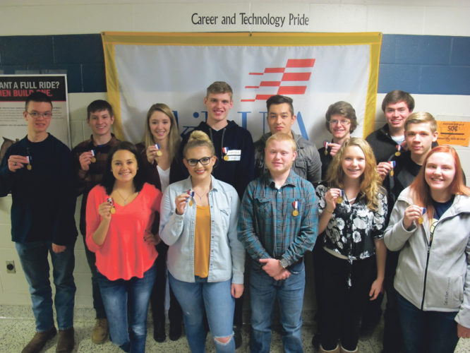 Times Observer photo by Brian Ferry Warren County Career Center SkillsUSA district level competition first place finishers (front row, from left): Desirae McMillen, Amy Strain, Zackary Ickert, Bryanna Hesslink, and Bailey Brucker. Back row: Phillip Passinger, Spencer Watson, Hana Blasco, Andrew Higby, Corry McCoy, Troy Johnson, Gavin Horner, and Caleb Eyler.