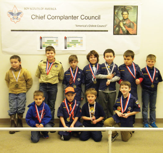 Photo submitted to Times Observer On Sunday, Jan. 15, Pack 45 of Pleasant Township held its annual Pinewood Derby at the Warren Mall. All of the boys were winners. Bottom row, from left, are Wyatt Bjorkquist, Shawn Lang, Brenden Johnson (third place), and Braden Gern and, back row, Tucker Johnson (first place), Ryath Johnson, Lionel Chapel, Cameron Shick, Bobby Johnson (second place), Jacob Carroll, and Kayden Bjorkquist.
