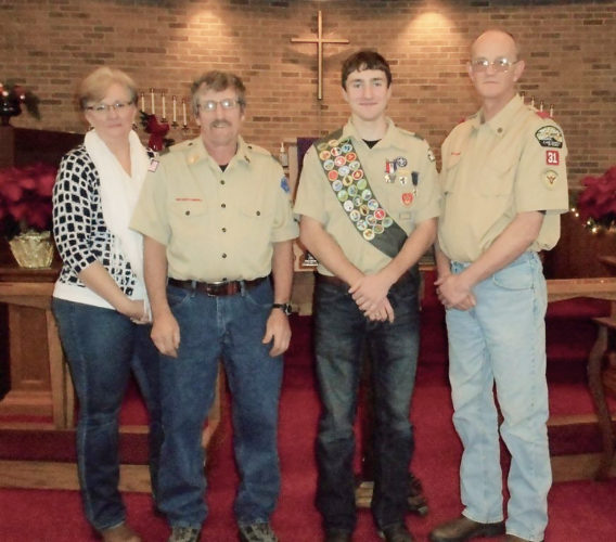 Photos submitted to Times Observer Michael Henry's Eagle Scout ceremony took place on December 11, 2016. Michael earned 30 Merit Badges including the following: Archery; Backpacking; Camping; Citizenship in the Community ,Nation and World; Communications; Cooking; Electricity ;Emergency Preparedness; Environmental Science; Family Life; First Aid; Fishing; Fly Fishing; Gardening; Hiking; Leather working; Motor Boating; Nature; Personal Fitness; Personal Management; Plumbing; Radio; Rifle ;Shotgun; Snow Sports; Swimming; Wilderness Survival and Woodcarving. For Michael's Eagle Project, he remodeled the Free Methodist Church Drama Room. The scope of the project was to raise the ceiling 4 feet and add storage. He accomplished this by removing the current suspended ceiling and lighting, constructing an additional 4 feet of wall, finish drywall and painted, replaced ceiling and lights and added shelving to the room. This will help accommodated large prop access to the stage and give easier access to costumes and smaller props. From left are Amy and Ralph Henry (Michael's Parents), Michael Henry, the new Eagle Scout, and Mike Hornstrom, Scoutmaster of Troop 31, sponsored by the Evangelical United Methodist Church of Youngsville.