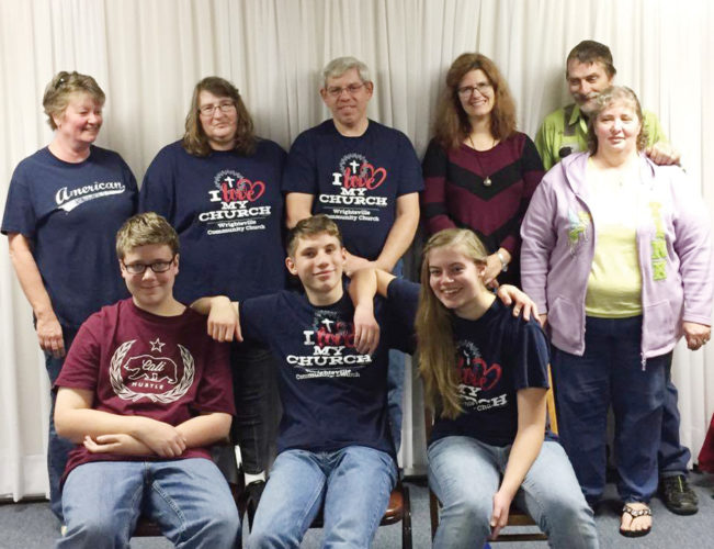 Photos submitted to Times Observer The Wrightsville Community Church will be having a benefit spaghetti dinner on January 28. All proceeds will go to help the Wrightsville church New Mexico missions trip. From left, in front, are volunteers Colin Ely, Caleb Morris and Sarah Morris and, in back, Lori Dyke, Jean Morris, Ken Morris, Denise Ely, Bob Miles and Sherry Miles.