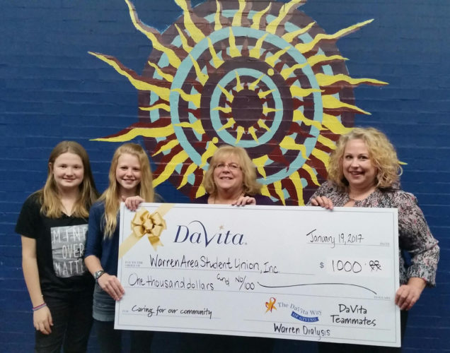 """Photo submitted to Times Observer DaVita Warren Dialysis teammates present a $1,000 check to the Warren Area Student Union as part of the annual DaVita Way of Giving program. DaVita dialysis centers across the United States are given the opportunity to choose which charity to donate to in their community. This year, a record-breaking $2.2 million has been donated to local charities across the United States and $9.1 million has been donated through the program since 2011. Warren Area Student Union is a 501(c) (3) nonprofit organization that provides a safe place for the youth of Warren and surrounding areas in grades 6- 12. WASU does not discriminate — all are welcome and are accepted with warm hearts and open arms. The WASU kids learn life skills, the value of giving back to the community and self- worth. The DaVita Warren Teammates felt this aligned very well with their mission and values. """"Children are our future. We couldn't think of any better way to send forth ripples and give back to our community than to help these children give back,"""" said Shelly Wilson, a DaVita Group Facility Administrator. From left are Mia Morse, Larisa Urig, Pam Falber, Executive Director of Warren Area Student Union, and Wilson."""