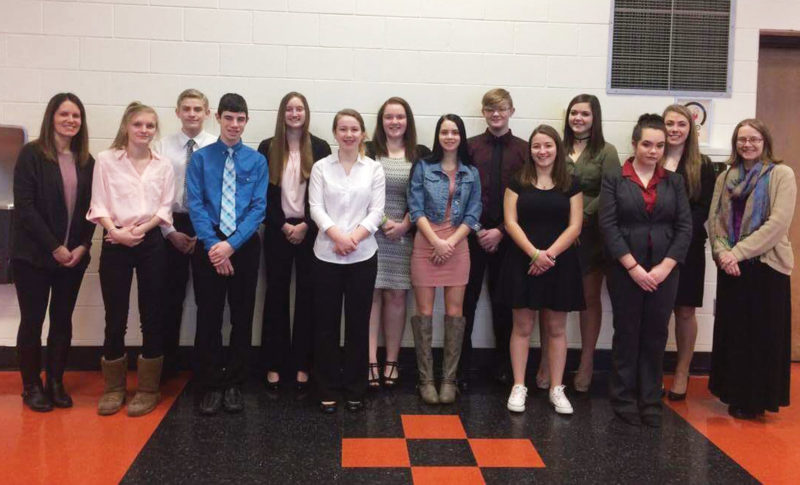 These students recently traveled to Erie County Court House for a mock trial, incuding, from left,  Sarah Connolly, Kylie McCraken, Isaac Filegar, Carter O'Donnell, Emily Grove, Marissa Grubbs, Faite Smith, Taya Bailey, Colby Eckstrom, Isiss Pratz, Eliza Davidson, Allyson Atwell, Mya Grubbs and Mrs. Urban.