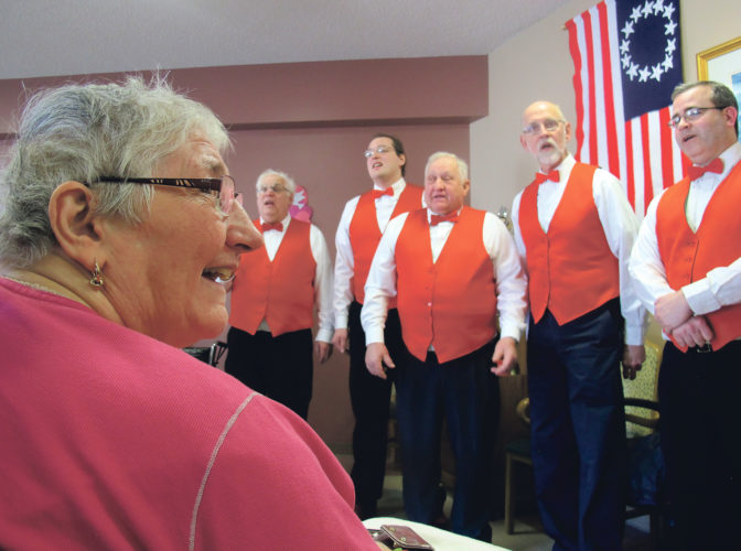 Times Observer photo by Brian Ferry The Conewango Clippers serenade Linda Krespan for Valentine's Day at Warren Manor. The Clippers, and the Harmony Gals of the Chautauqua Shores Chorus, performed throughout the county on Tuesday.
