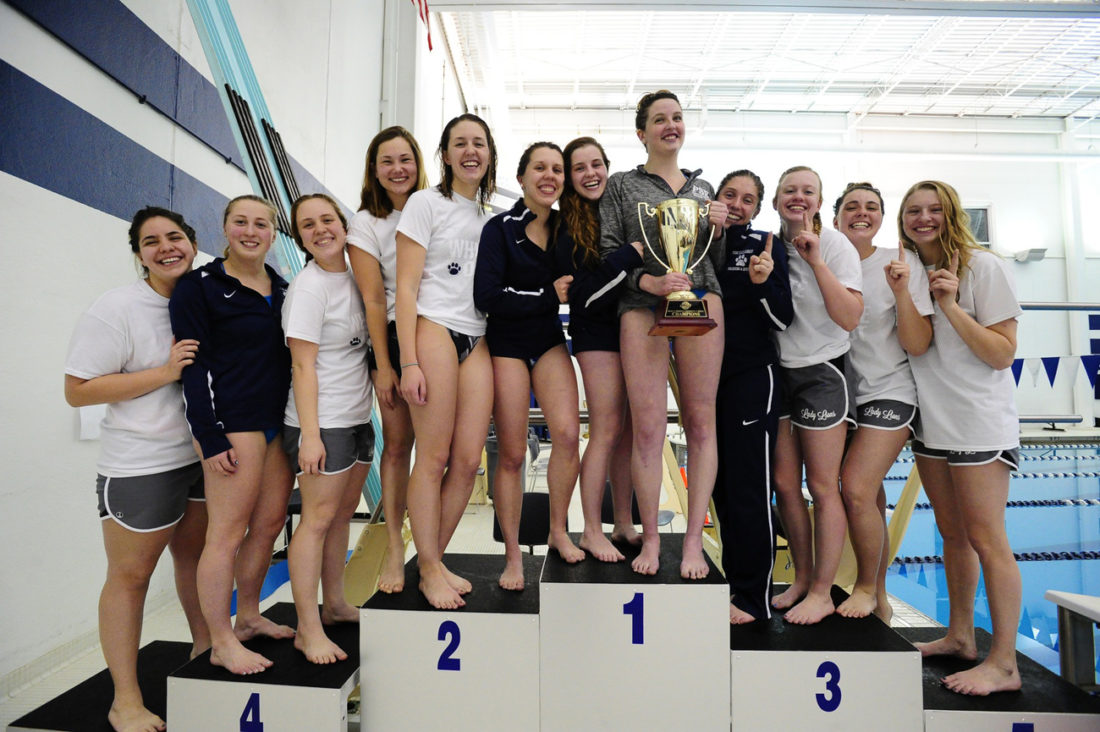 The 2017 Allegheny Mountain Collegiate Conference Champion Penn State Behrend women's swim team, including Warren Area High School graduate Lacey Grinnen (third from left).