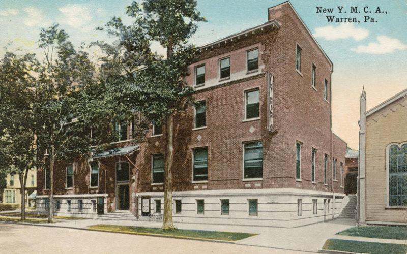Postcard of an older YMCA location  on Liberty Street in Warren