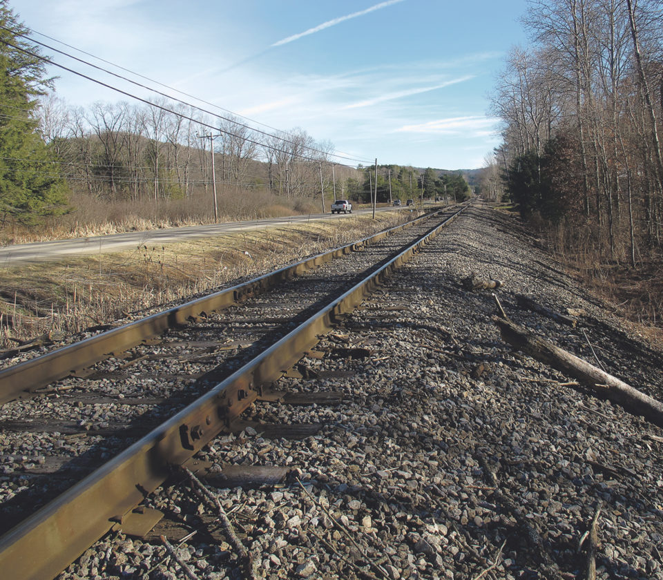 Times Observer photo by Brian Ferry This stretch of railroad bed along Route 6 in Saybrook just west of Dickey Lane was the site of the ATV crash in which Dylan Fehlman, 17, of Tiona, was killed Sunday night.