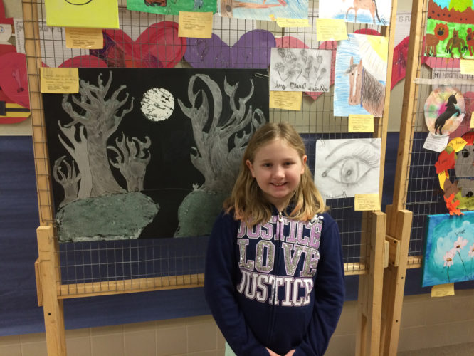 "Photo submitted for publication Eisenhower Elementary School is holding a Talent Show and also showing off art work the students have created from home. Pictured here is 3rd grader, Addy Drum and her painting ""Winter Trees in Moonlight."" This is just one of many great creations the students have on hand for the judges."
