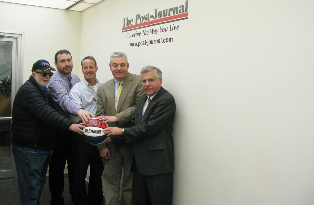 P-J photo by Gavin Paterniti Representatives of the hosts and sponsors of the upcoming Gus Macker tournament are, from left, Lee John, Media One Group representative; Bob Patchen, publisher of the Times Observer; Michael Bird, publisher of The Post-Journal and co-director of the Gus Macker tournament; John D'Agostino, publisher of The Dunkirk OBSERVER; and Jamestown Mayor Sam Teresi. Missing from photo are Kim Carlson, founder of the Alex Foulk Fund and A Fresh Start; and Chris Dole, co-director of the Gus Macker tournament.