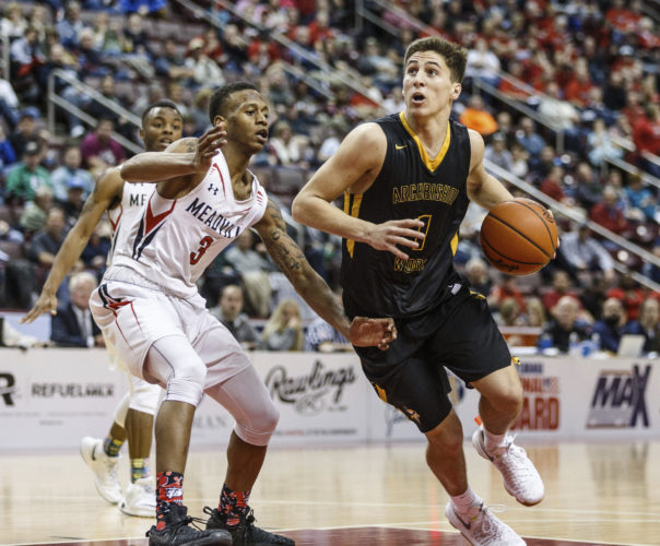 Archbishop Wood's Collin Gillespie drives against Meadville during the PIAA boys' Class 5A state basketball tournament Friday, March 24, 2017, in Hershey, Pa (James Robinson/PennLive.com via AP)