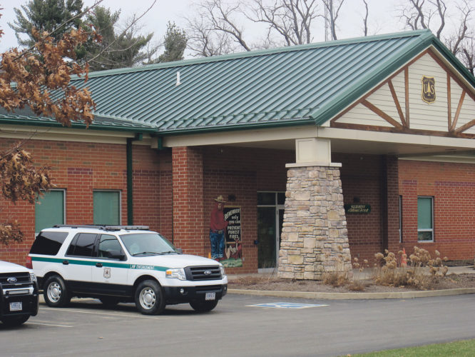(Times Observer file photo) Allegheny National Forest offices were closed last month because of a threatening voice messaeg. The investigation has been completed.
