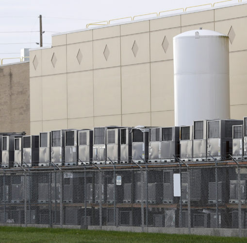 AP PHOTO Air conditioning units are stacked outside the Carrier Corp. plant, Wednesday, in Indianapolis. Carrier and President-elect Donald Trump reached an agreement to keep nearly 1,000 jobs in Indiana.