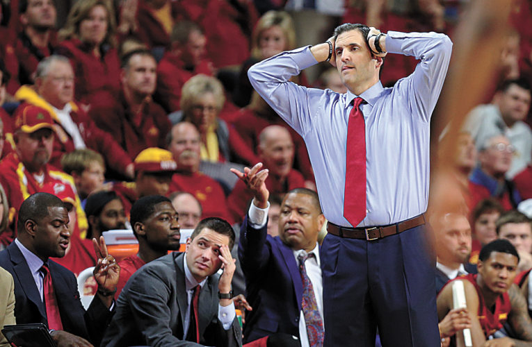 Iowa State head coach Steve Prohm reacts to a call during the second half of an NCAA college basketball game against Cincinnati, Thursday, Dec. 1, 2016, in Ames, Iowa. Cincinnati won 55-54. (AP Photo/Justin Hayworth)
