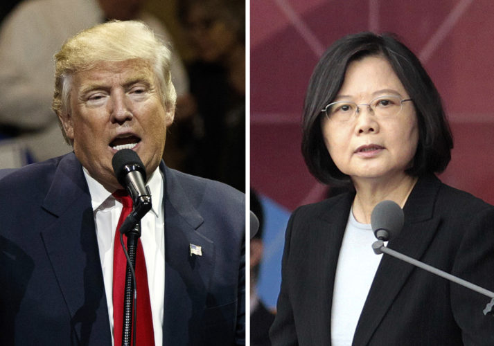 "AP IMAGE This combination of two photos shows U.S. President-elect Donald Trump, left, speaking during a ""USA Thank You"" tour event in Cincinnati Thursday, and Taiwan's President Tsai Ing-wen, delivering a speech during National Day celebrations in Taipei, Taiwan, Oct. 10. Trump spoke Friday, with Tsai, a move sure to anger China."