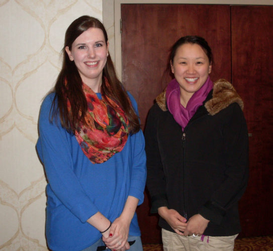 CONTRIBUTED PHOTO Shannon Schott and Laura McIntosh, both were representing 'Teens Against Human Trafficking' presented the program on Wednesday to the Kiwanis P.M. Club.