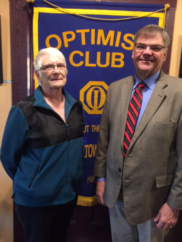 CONTRIBUTED PHOTO Dorothy McHone welcomes Andy Schwandt to a recent meeting of the Marshalltown Morning Optimist Club.