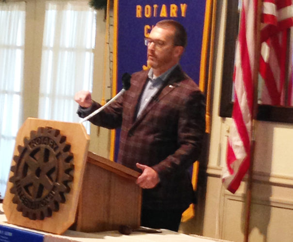 CONTRIBUTED PHOTO Marshalltown Community School District School Board member Mike Miller presented a program to Rotary on the Marshalltown school system from the perspective of a school board member.