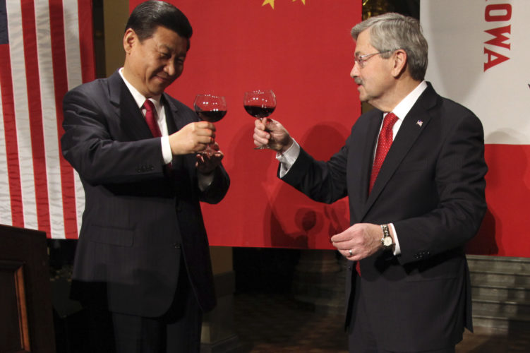 AP PHOTO In this Feb. 15, 2012 file-pool photo, China's Xi Jinping and Gov. Terry Branstad raise their glasses at the beginning of a formal dinner in the rotunda at the Iowa Statehouse in Des Moines. Branstad, President-elect Donald Trump's choice for U.S. ambassador to China, can boast a 30-year relationship with Chinese President Xi Jinping, the most powerful Chinese leader in decades.
