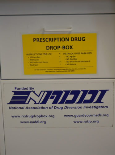 T-R PHOTO BY MIKE DONAHEY  Pictured is the prescription drug drop box in the lobby of the Marshalltown Police Department, 22 N. Center St. The unit, which was installed approximately two and one-half years ago, resembles a mail box and is available for use anonymously 24/7 by area residents.