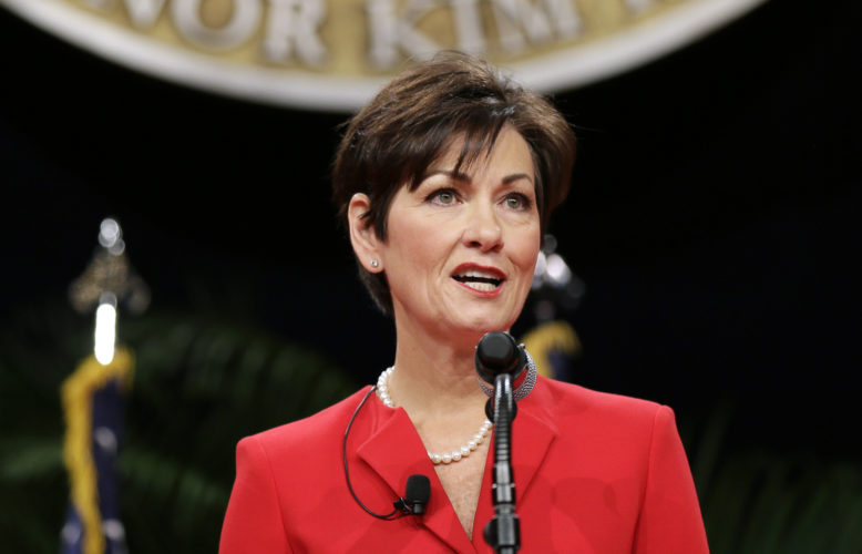 AP PHOTO In this Jan. 16, 2015, file photo, Iowa Lt. Gov. Kim Reynolds delivers remarks after taking the oath of office during inauguration ceremonies in Des Moines. Reynolds, presumptively the next governor of Iowa, faces a renewed spotlight amid her sudden rise to the state's top job.