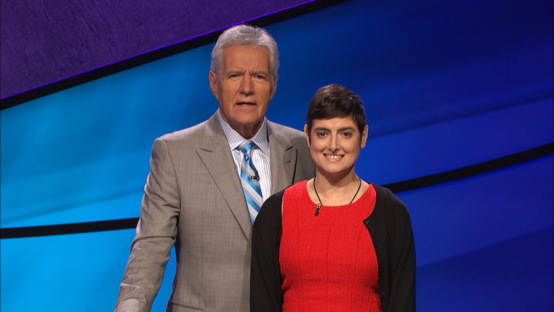 """AP PHOTO In this Aug. 31 photo provided by Jeopardy Productions, Inc., Cindy Stowell, right, appears on the """"Jeopardy!"""" set with Alex Trebek in Culver City, Calif."""
