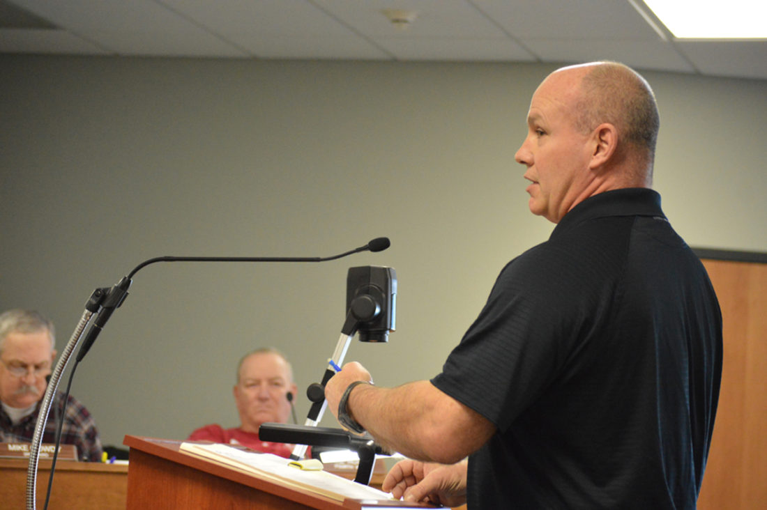T-R FILE PHOTO From this Dec. 28, 2016 photo, Monte Eaton of Marshalltown is shown making a presentation to the city council. Eaton appeared before the  council again Monday night. He asked it to place on the Jan. 23 agenda  reconsideration of his request to sever his property from the city. His request made at the Dec. 27 meeting failed 3-2. On Monday night, council voted 3-3 vote on a motion to place the vote reconsideration on the agenda. A tie vote meant the measures failed.