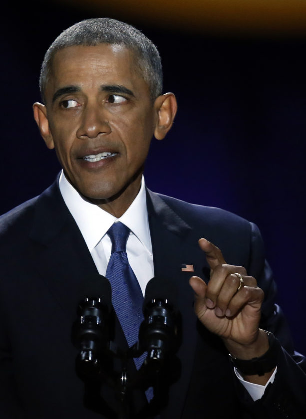 AP PHOTO President Barack Obama speaks at McCormick Place in Chicago, Tuesday, giving his presidential farewell address.