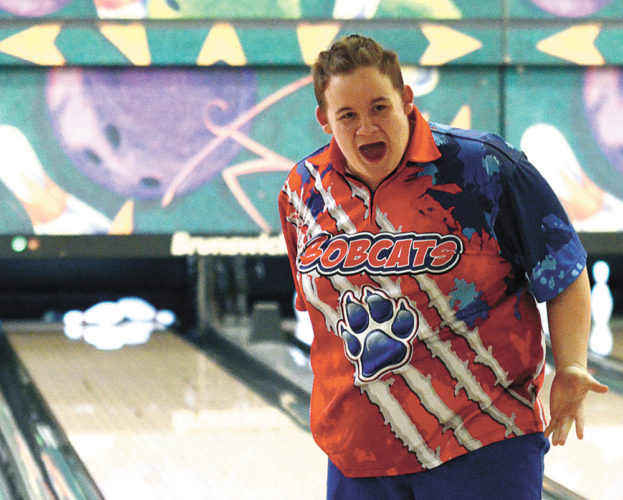 T-R PHOTO BY STEPHEN KOENIGSFELD • Marshalltown bowler Carson Potter looks back toward his teammates and celebrates after rolling a strike during a baker round Thursday at the Totem Bowl. The Bobcats bowled a season-high 3,447 pins to defeat visiting CIML Iowa Conference foe Fort Dodge.