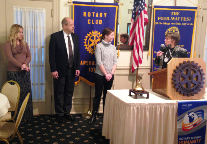 CONTRIBUTED PHOTO A trio of new members were inducted into the Marshalltown Rotary club in January by past-president Carol Hibbs. From the left are Amber Danielson, Dan Vellinga and Amanda Accola.