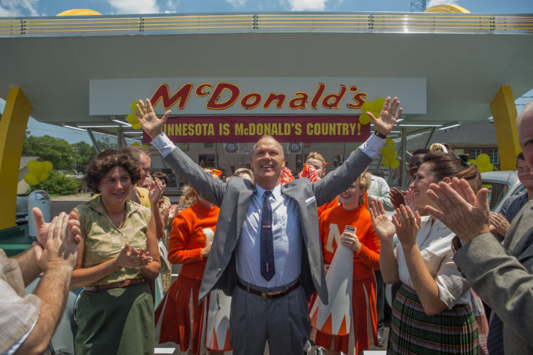 "AP PHOTO This image released by The Weinstein Company shows Michael Keaton, center, in a scene from, ""The Founder."""