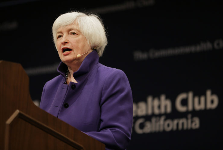 AP PHOTO Federal Reserve Board Chair Janet Yellen speaks during a meeting of the Commonwealth Club, Wednesday, in San Francisco. Yellen talked about the Fed's goals and the best way to pursue them during her appearance.