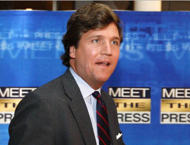 AP PHOTO In this Nov. 17, 2007 file photo, political commentator Tucker Carlson arrives for the 60th anniversary celebration of NBC's Meet the Press at the Newseum in Washington. Fox News Channel says that veteran pundit Carlson will replace Megyn Kelly in the network's coveted 9 p.m. time slot sandwiched between Bill O'Reilly and Sean Hannity.