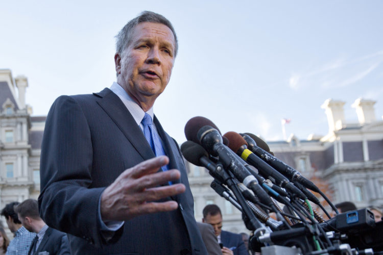 AP PHOTO In this Nov. 10, 2016, file photo, Ohio Gov. John Kasich, following a ceremony where President Barack Obama honored the 2016 NBA champion Cleveland Cavaliers basketball team, answers questions from reporters in Washington. Republican governors who turned down billions in federal dollars from an expansion of Medicaid under President Barack Obama's health care law now have their hands out in hopes the GOP Congress comes up with a new formula to provide insurance for low-income Americans.