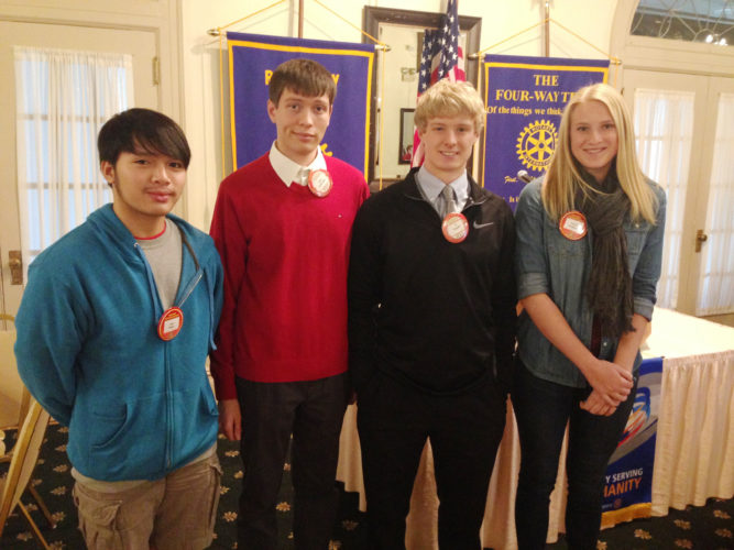 CONTRIBUTED PHOTO Student Rotarians visiting in the month of January are Lay Htoo, Alex Gallentine, TJ Snyder and Carrie Heddens.