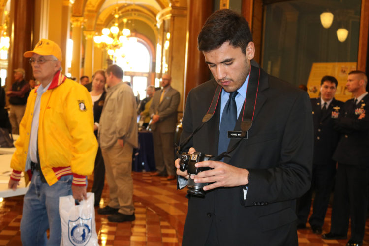 T-R PHOTO BY ADAM SODDERS Marshalltown's Isaac Medina, a University of Iowa student and intern with the state House Democrats at the Capitol, said he enjoys seeing representative democracy at work every day. His job involves working with media such as photos and videos, promoting the House Democrats' agenda and doing legislative research.