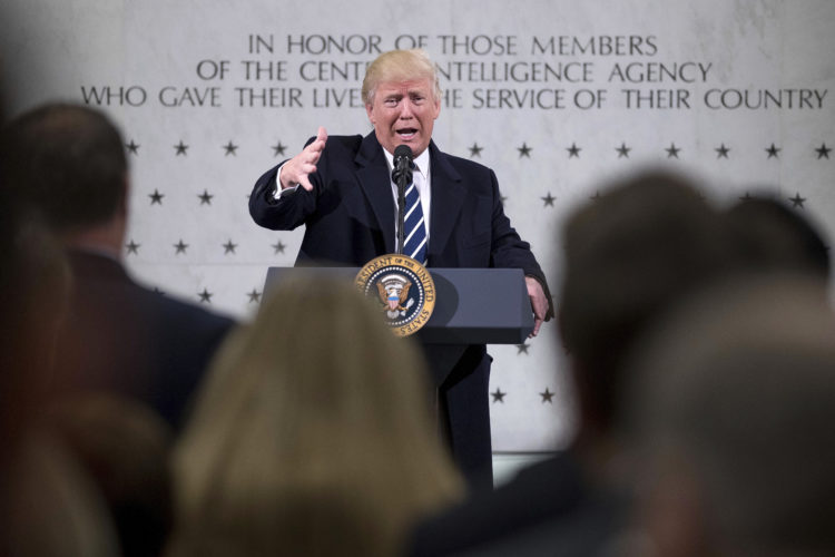 AP PHOTO President Donald Trump speaks at the Central Intelligence Agency in Langley, Va., Saturday.