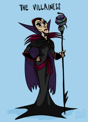 """This sketch by Stephanie Delazeri, an animation student at California Institute of the Arts in Santa Clarita, Calif., shows """"The Villainess,"""" an archetypal female character. More women are entering the field of animation, and one of their goals is to create more realistic female characters. Cal Arts instructor Erica Larsen-Dockray, who teaches a class on """"The Animated Woman,"""" said of The Villainess: While male villains can be any shape or size, female villains almost always are old and unmarried. They have gray hair, wrinkles and harsh makeup. They're hardened and sour and always look stern and angry. Visually, they're typically depicted looking almost bony with sharp lines, including high cheekbones and pointy elbows. (Stephanie Delazeri/California Institute of the Arts via AP)"""