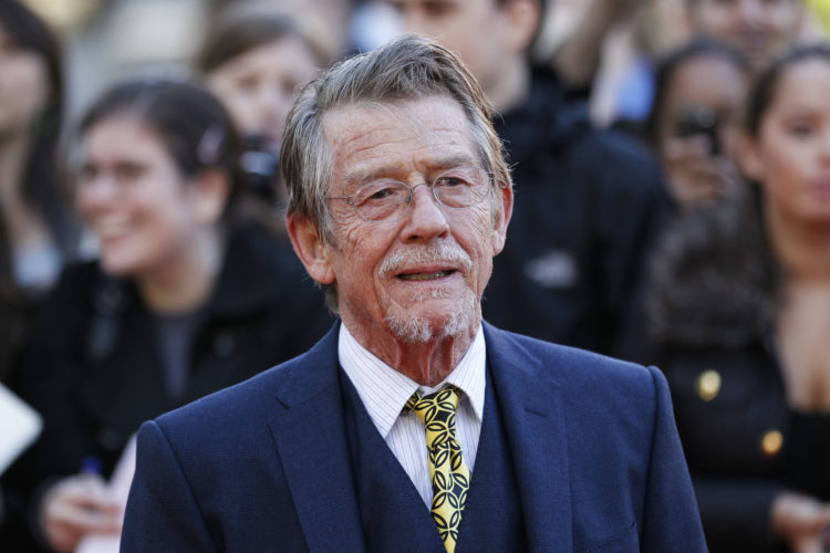 """AP PHOTO This Sep. 13, 2011, shows British actor and cast member John Hurt arriving for the UK film premiere of """"Tinker Tailor Soldier Spy"""" at the BFI Southbank in London."""