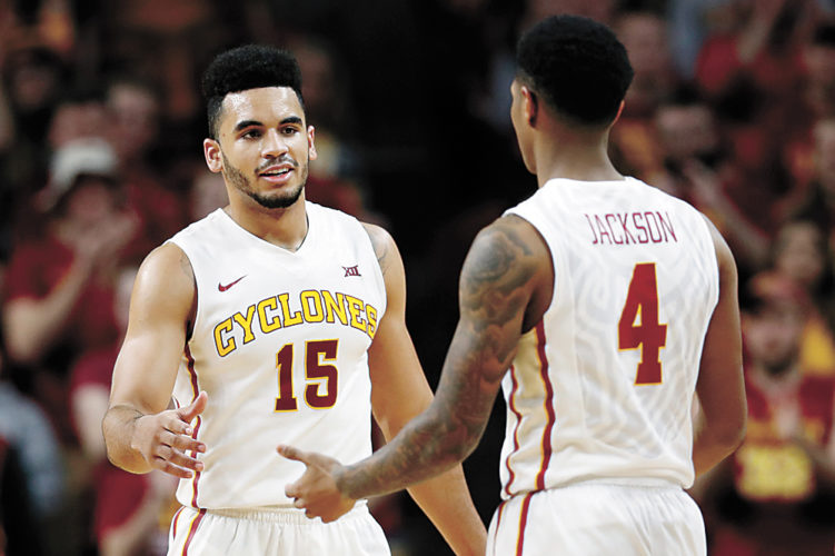 AP PHOTO • Iowa State guard Naz Mitrou-Long, left, celebrates with teammate Donovan Jackson (4) at the end of Saturday's Big 12 Conference basketball game against Oklahoma inside Hilton Coliseum in Ames. Mitrou-Long scored 23 points as Iowa State won 80-64.