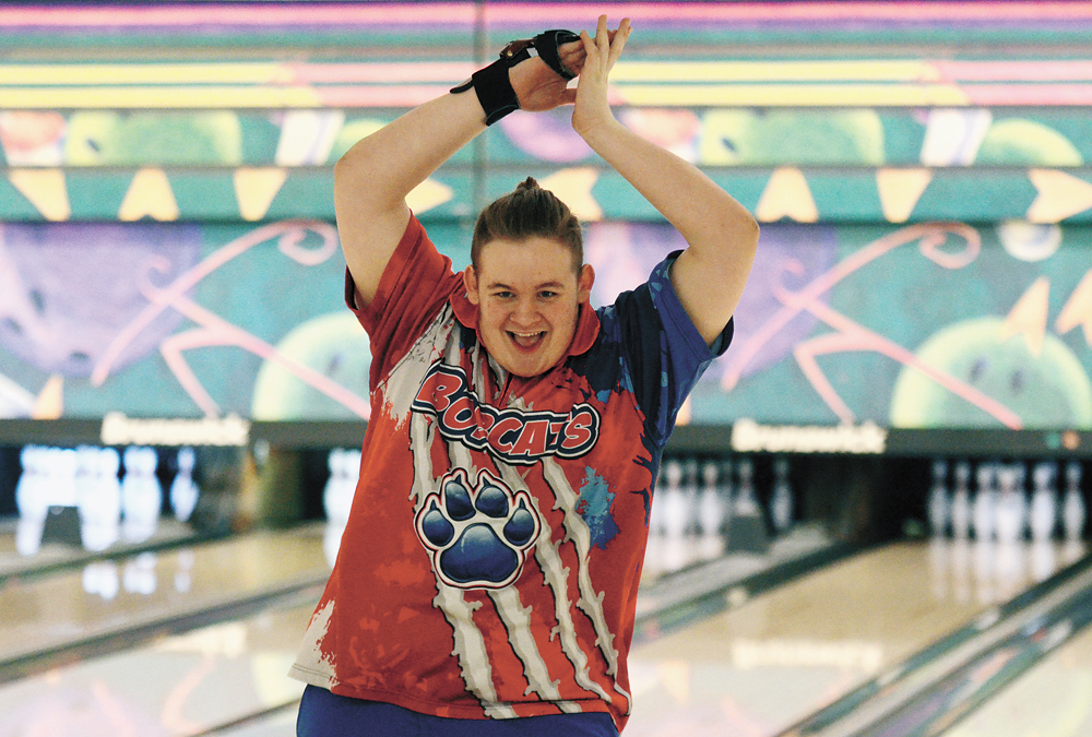 t-r photo by stephen koenigsfeld Carson Potter does a quick celebratory dance after wrapping up his final frame in his second individual round Tuesday at Totem Bowl. Potter had a 458 series and the MHS boys' bowling team won the District 6 meet with 3,429.