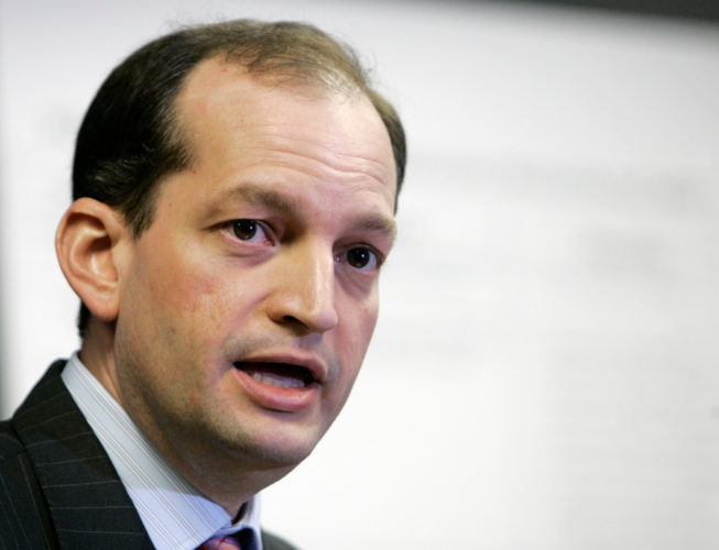 AP PHOTO In this Jan. 16, 2008 file photo, R. Alexander Acosta talks to reporters during a news conference in Miami. President Donald Trump says he's has chosen Acosta to be labor secretary.