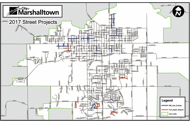 CONTRIBUTED GRAPHIC  The Marshalltown Public Works Department recently submitted to the city council proposed 2017 street improvement projects. Approximately $1.8 million has been budgeted for work in blue and red. Blue indicates mil and overlay, where contractors would remove top 2 inches and replace. Red is full depth rebuild. Proposed concrete repair is not identified. Total costs would be approximately $3-million if city council approves concrete repair, full depth rebuild and mil and overlay.