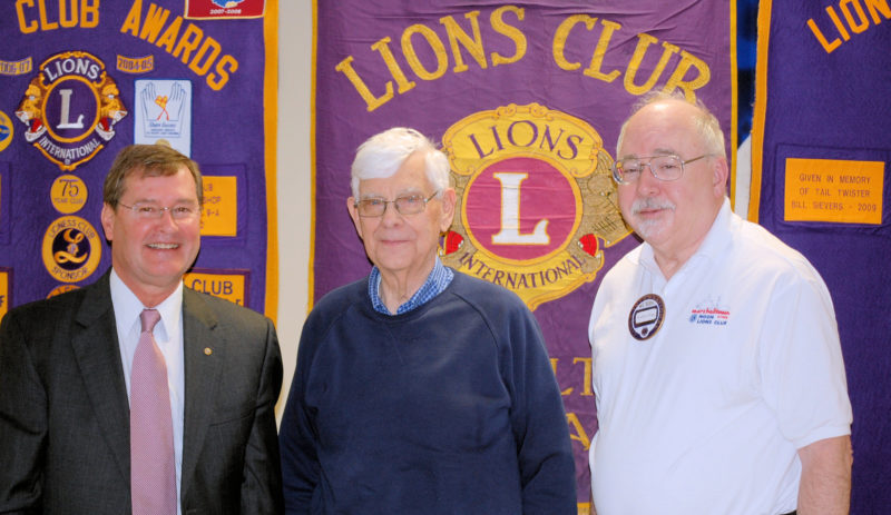 CONTRIBUTED PHOTO From left tor right Attorney and City Councilman Joel Greer was welcomed to the Noon Lions by Program Chairman Rev. Allan Thoreson and Rev. Wally Paige, Noon Lions president as he gave an update on The Iowa River Trail.