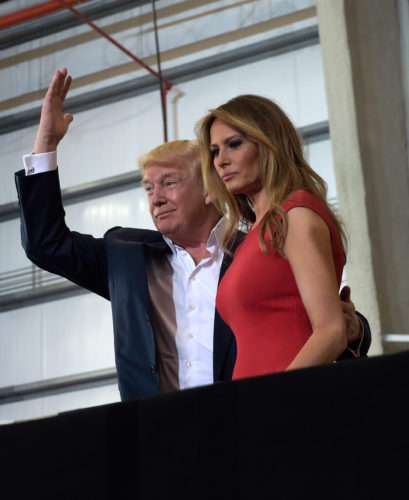 AP PHOTO President Donald Trump and first lady Melania Trump arrive to speak at his rally at Orlando-Melbourne International Airport in Melbourne, Fla., Saturday.